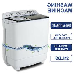 21LBS Mini Semi-Automatic Compact Washing Machine Twin Tub W