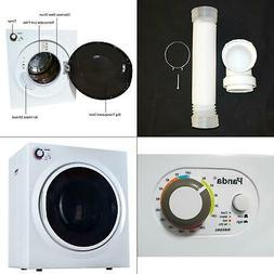 3.75 cu. ft. compact electric laundry dryer, white and black