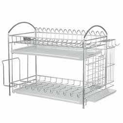 Nex 304 Stainless Steel 2-Tier Kitchen Dish Cup Rack Drying