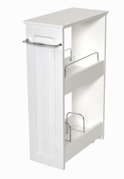 Zenna Home 9227WWBB, Slimline Rolling Storage Shelf, White