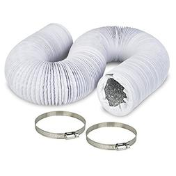 """4"""" Air Duct - 8 FT Long, White Flexible Ducting with 2 Clamp"""