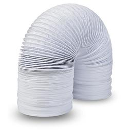 """8"""" Air Duct - 8 FT Long, White Flexible Ducting with 2 Clamp"""