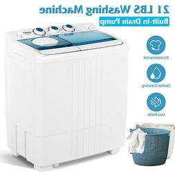 Compact Washing Machine Twin Tub Portable with Drain Pump Wa
