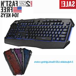 Gaming Keyboard 3 Color Backlit PC Mechanical Backlight Wire