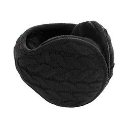 Unisex Knit Wool Foldable Earmuffs, Women's Men's Thick Flee