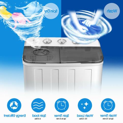 17lbs Washing Compact Twin Tub Laundry Washer Spin Dryer