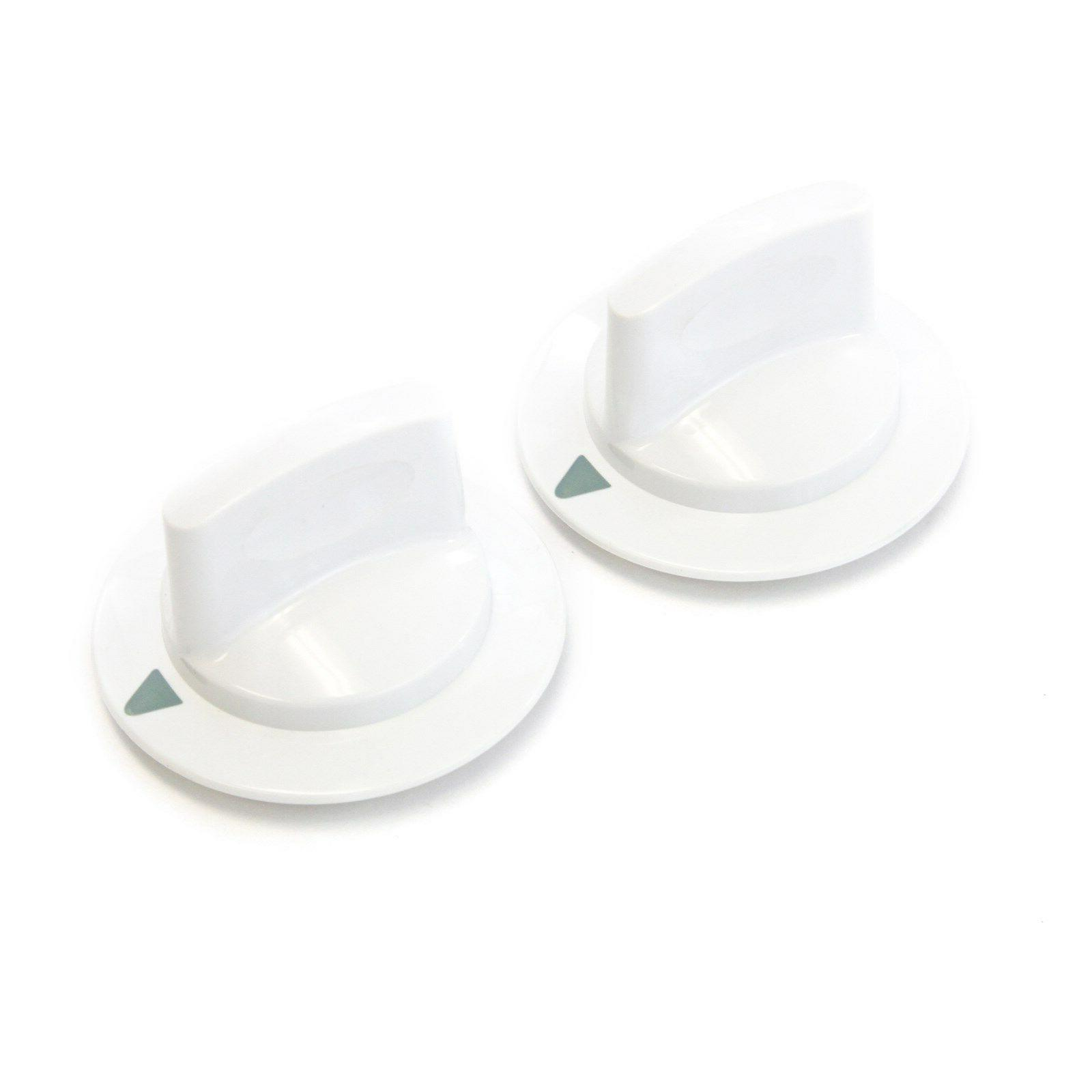2 white dryer timer control knobs fits