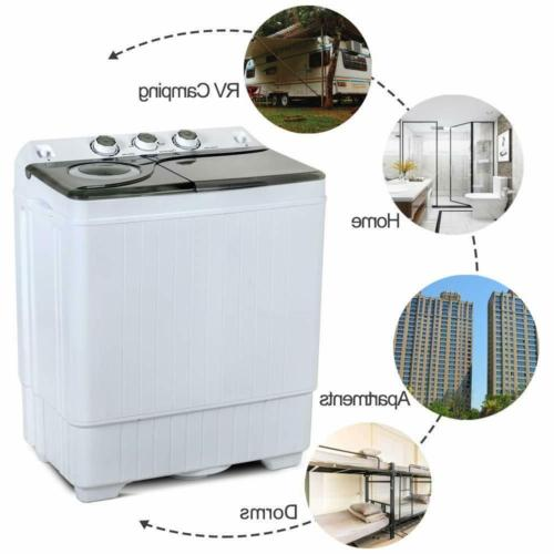 26 LBS Machine Twin Tub Drain Portable Laundry Spin Compact
