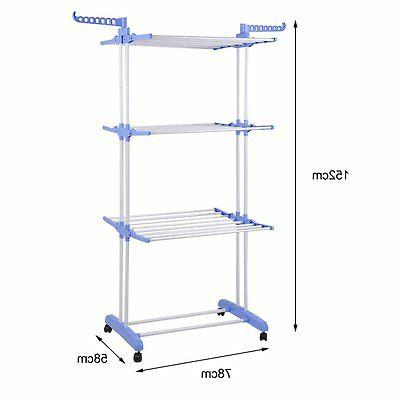 3 Clothes Airer Laundry Dryer In/Outdoor Rail BP