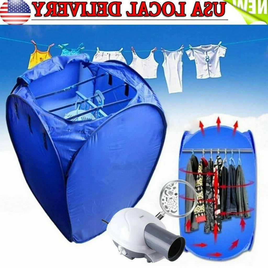 US 800W Portable Electric Air Heater Clothes Dryer Rack Fold