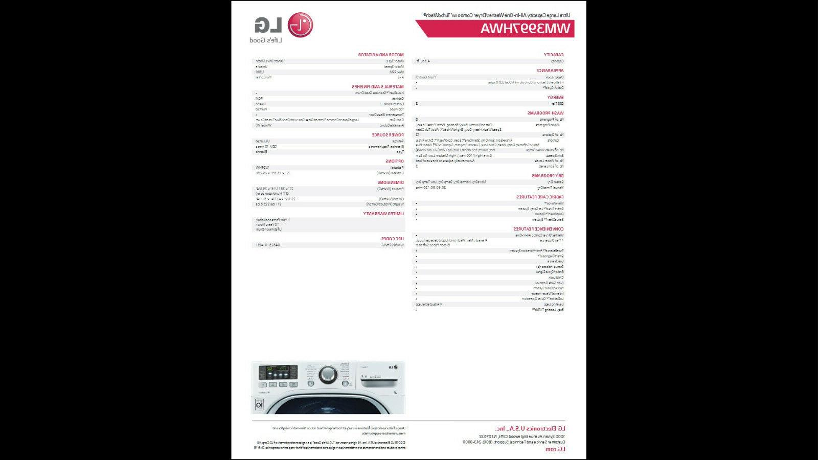 LG Cu. Washer/Dryer with TurboWash, Stainless Cycle