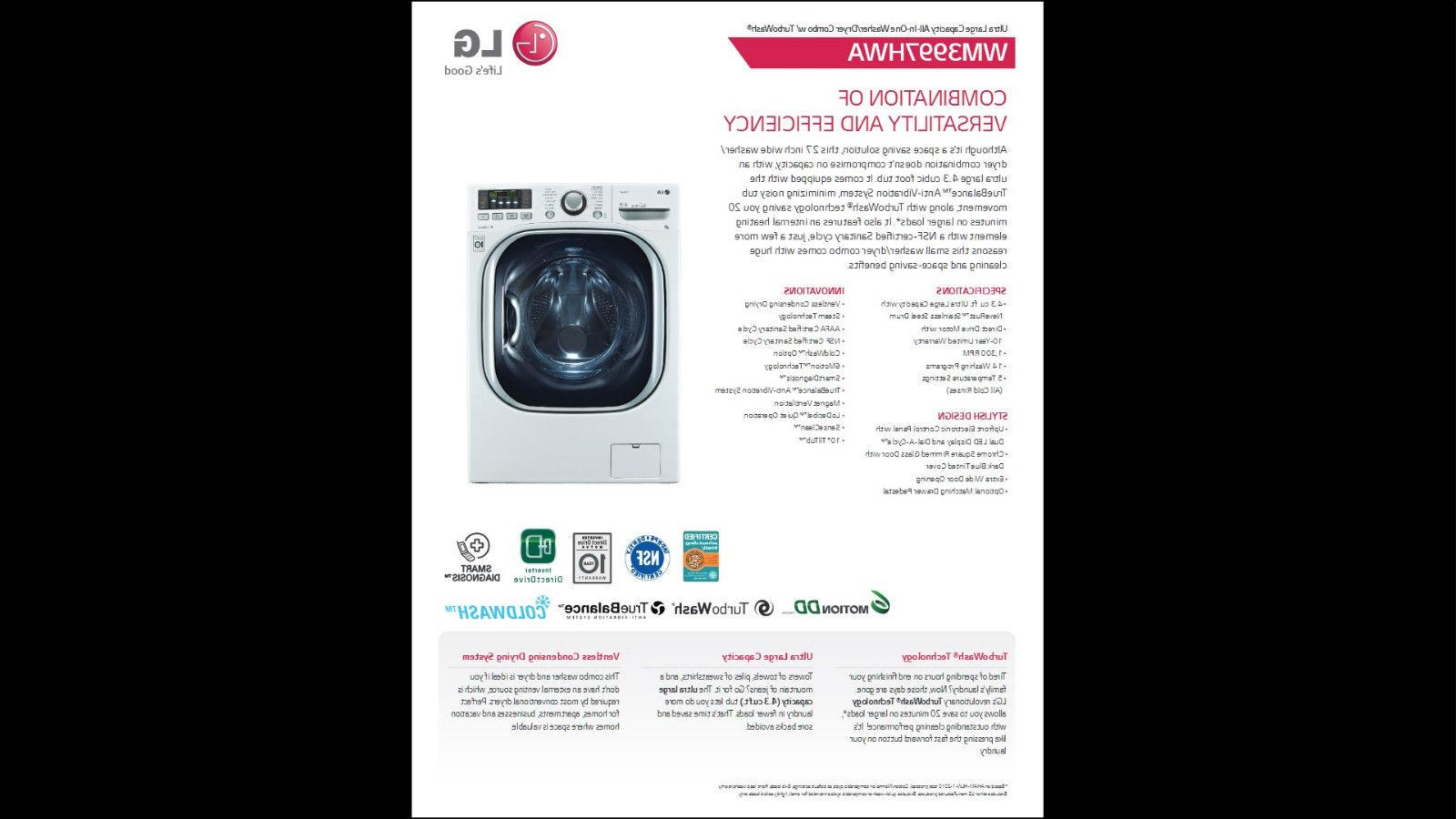 LG Ventless Cu. Ft. Washer/Dryer TrueBalance Anti-Vibration System, Stainless Cycle in