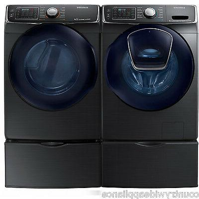 black stainless washer gas dryer and pedestals