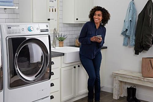 Kenmore Smart cu. ft. Electric with Accela Steam in White Compatible with Alexa, includes and hookup