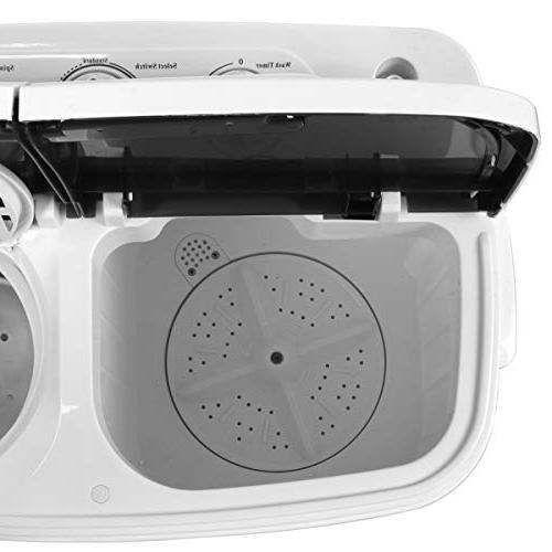 SUPER DEAL Mini Twin Tub Machine w/Wash and Cycle, Gravity 13lbs Capacity Apartments, Dorms, RV's, and