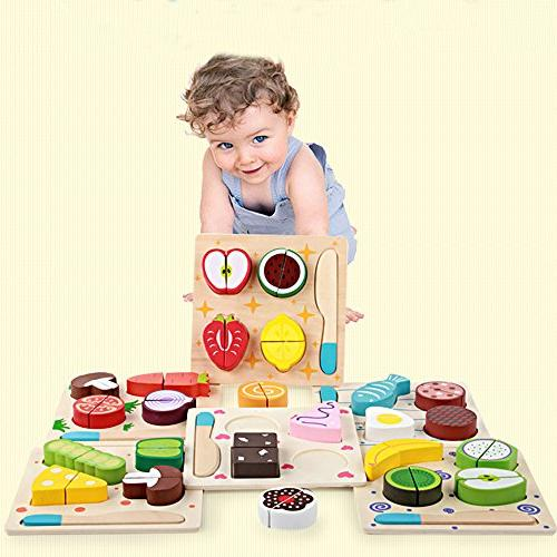 Gbell Toddler Vegetables Set - Cut Fruits Dessert Kids Cooking Kitchen Role Play Educational for Girls Boys Preschoolers