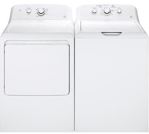 """GE with GTW330ASKWW 27"""" Top Load and GTD33GASKWW 27"""" Front Gas Dryer"""
