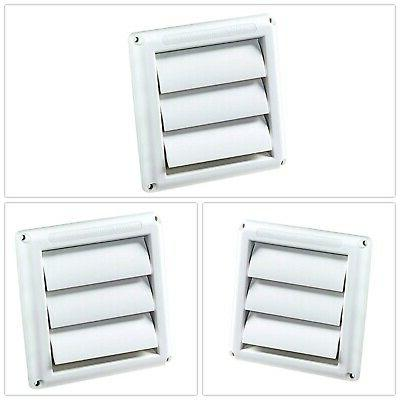White Super Vent Louvered Outdoor Dryer Vent Cover 4 in Hood