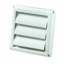 """Outdoor Dryer Vent Cover, 4 Inch flaps Hood, White, 6"""" x 6"""""""