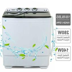26 LBS Compact Washing Machine Portable Twin Tub Laundry Spi
