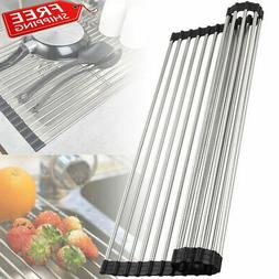 Stainless Steel Over-the-Sink Flexible Roll-up Dish Drying D