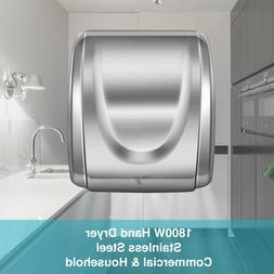 Upgraded High Speed Sturdy Hand Dryer 1800W Stainless Steel