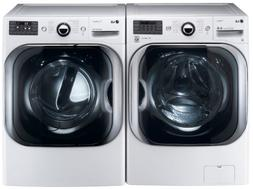 LG White 5.1 Cu Ft Front Load Steam Washer and 9.0 Cu Ft Ste
