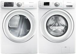 white front load washer and gas dryer
