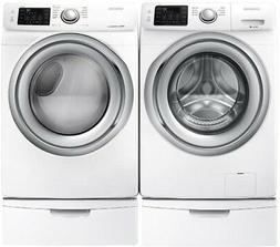 Samsung White Washer and Gas Dryer and Pedestals WF45N5300AW