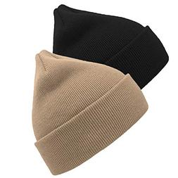 YSense 2 Pack Kids Winter Knit Hat, Baby Toddler Children's